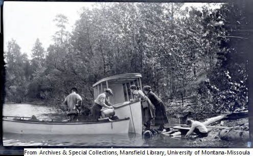 Early century students conduct studies by boat in Yellow Bay