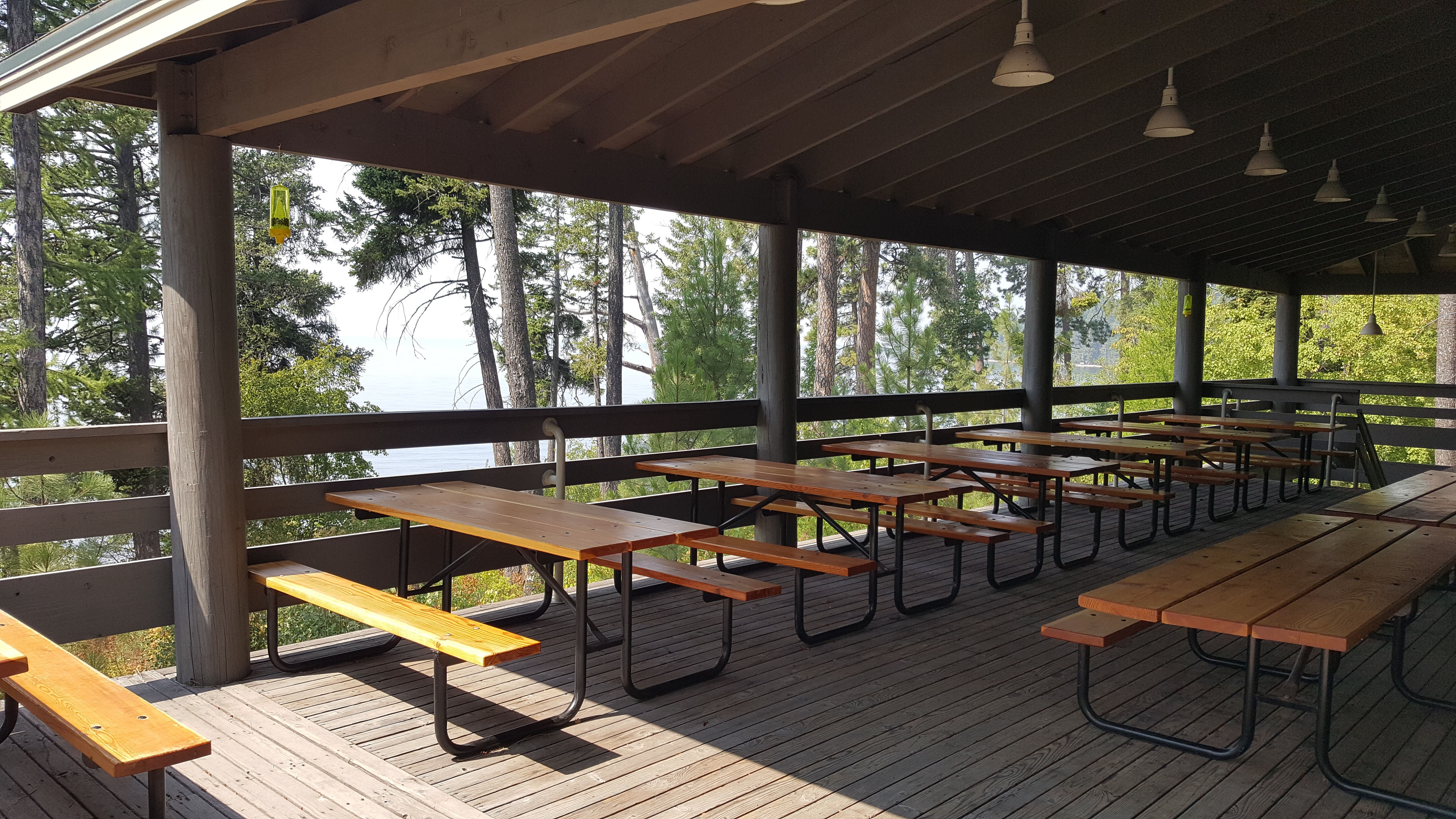 FLBS dining tables on the outdoor covered deck