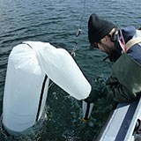 Researcher sampling with the van dorn on Whitefish Lake