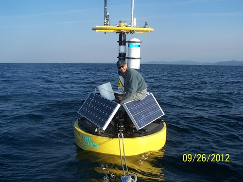 Tom working on Flathead Lake buoy