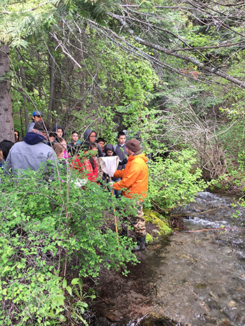 Instructor discusses aquatic sampling with students by a stream