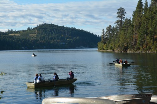 Ronan High School students taking samples in Yellow Bay
