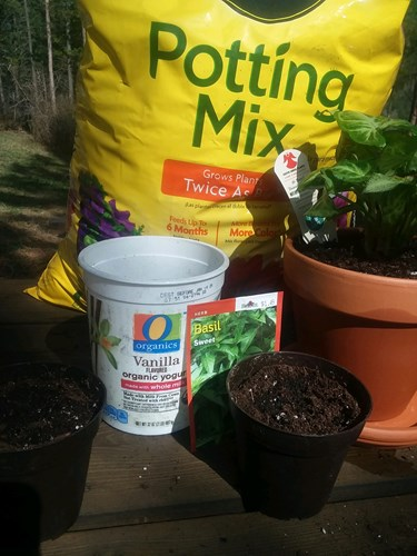 Using reusable materials to plant garden seeds