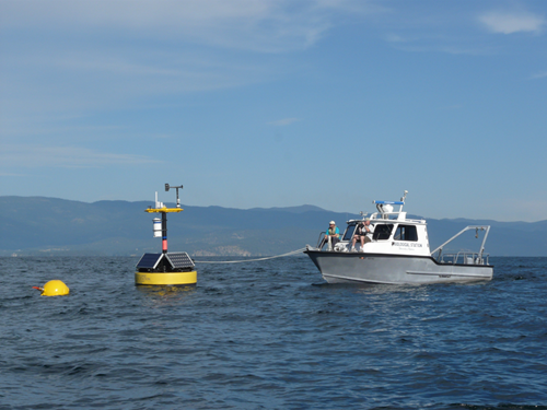 """Jessie B"" research vessel with newly deployed LakeNET buoy"
