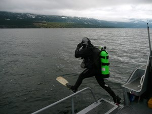 Jumping into Flathead Lake in December 2012 for buoy maintenance