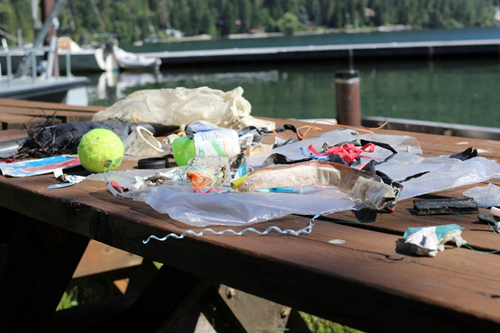 A collection of trash found by Holly Church as she walked along the lake shore in May.