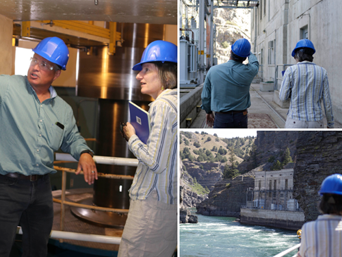 several pictures of Nanette Nelson and Brian Lipscomb touring the SQK Dam on the flathead river