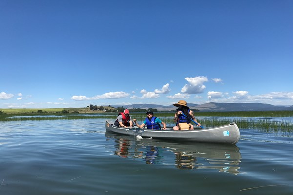 Students collect water samples on Flathead Lake
